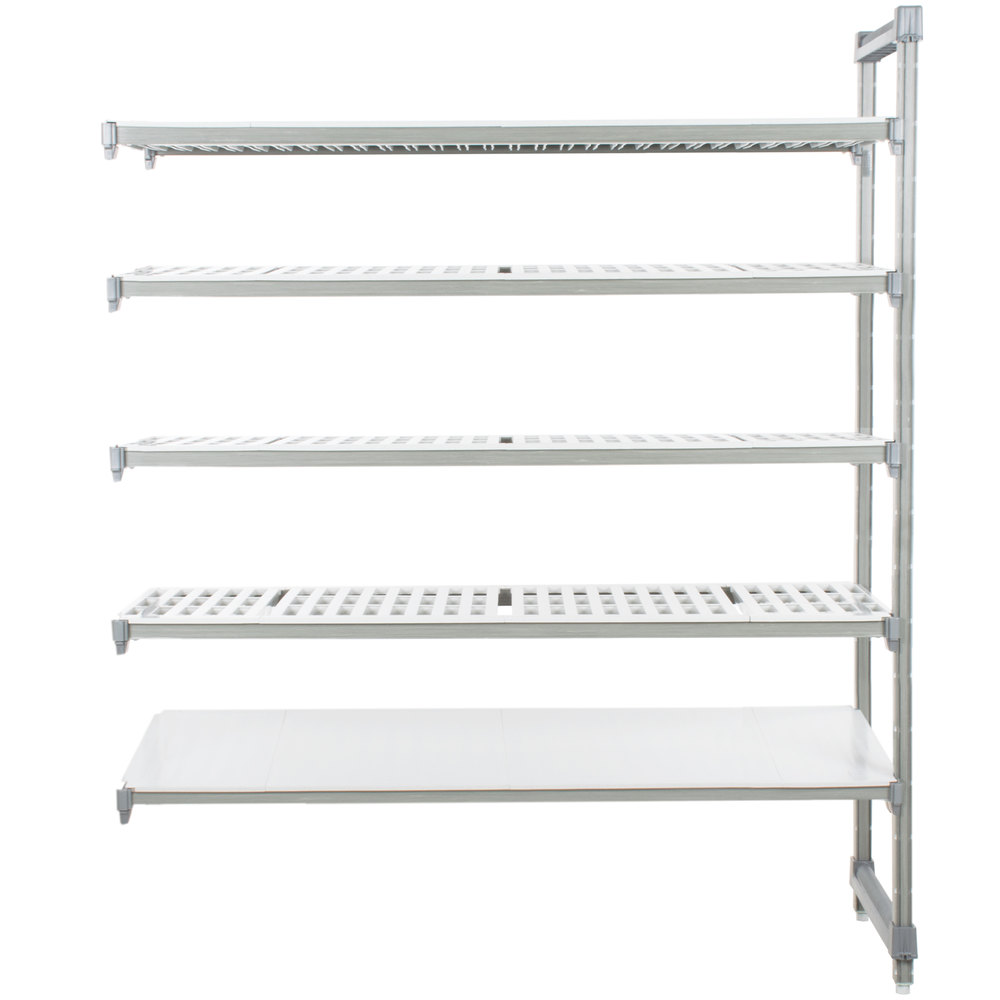 "Cambro EA243684VS5580 Camshelving Elements Stationary Add-On Shelving Unit with 4 Vented Shelves and 1 Solid Shelf - 24"" x 36"" x 84"""