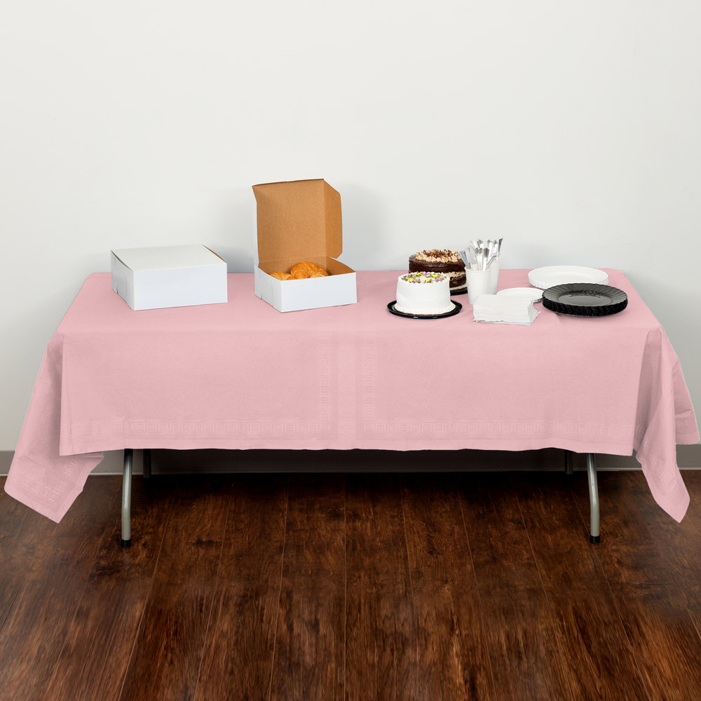 "Creative Converting 710129B 54"" x 108"" Classic Pink Tissue / Poly Table Cover - 24 / Case"