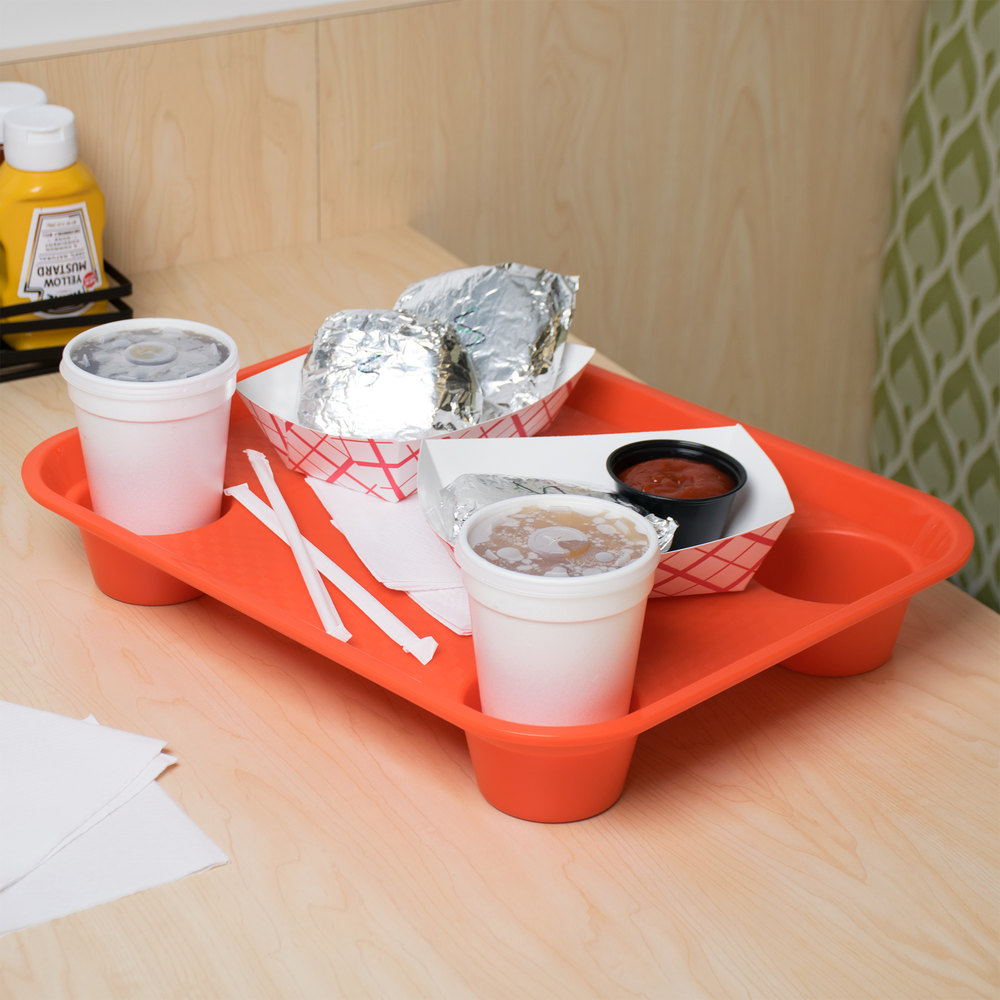 "GET FT-20-OR 14"" x 17"" Orange Plastic Fast Food Tray with Cup Holders - 12/Case"