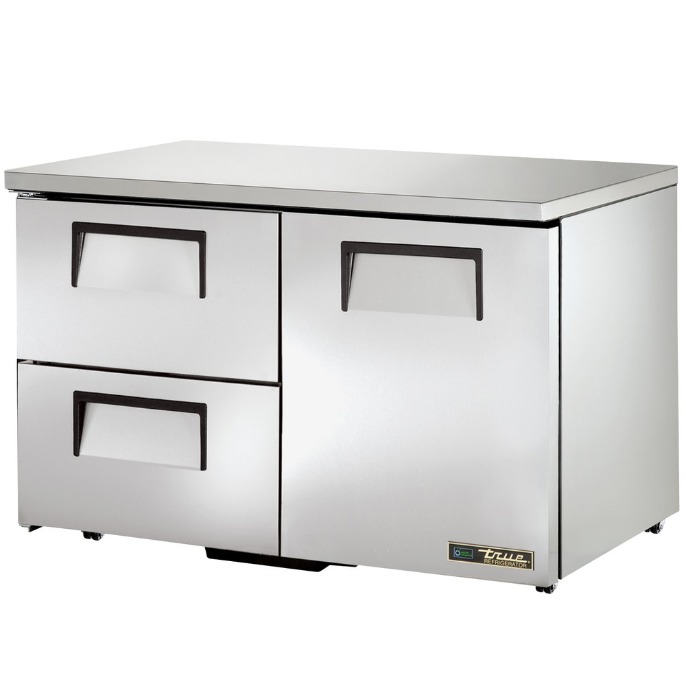 "True TUC-48D-2-LP 48"" Low Profile Undercounter Refrigerator with One Door and Two Drawers"