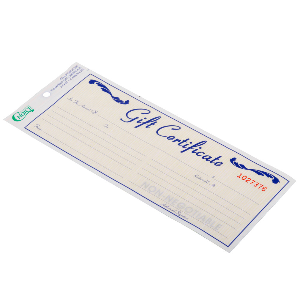 gift certificate envelope choice pack