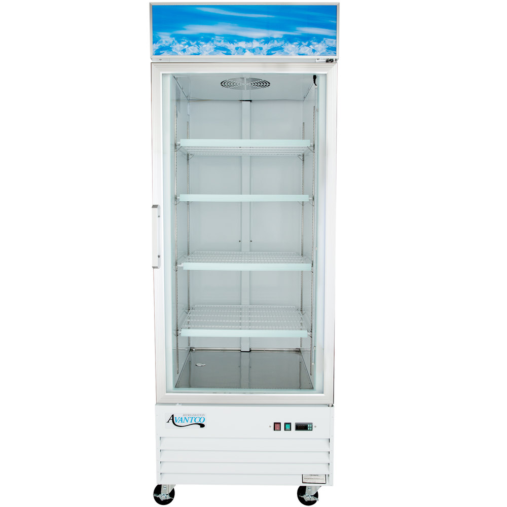 "Avantco GDC24F 31"" White Swing Glass Door Merchandising Freezer with LED Lighting"