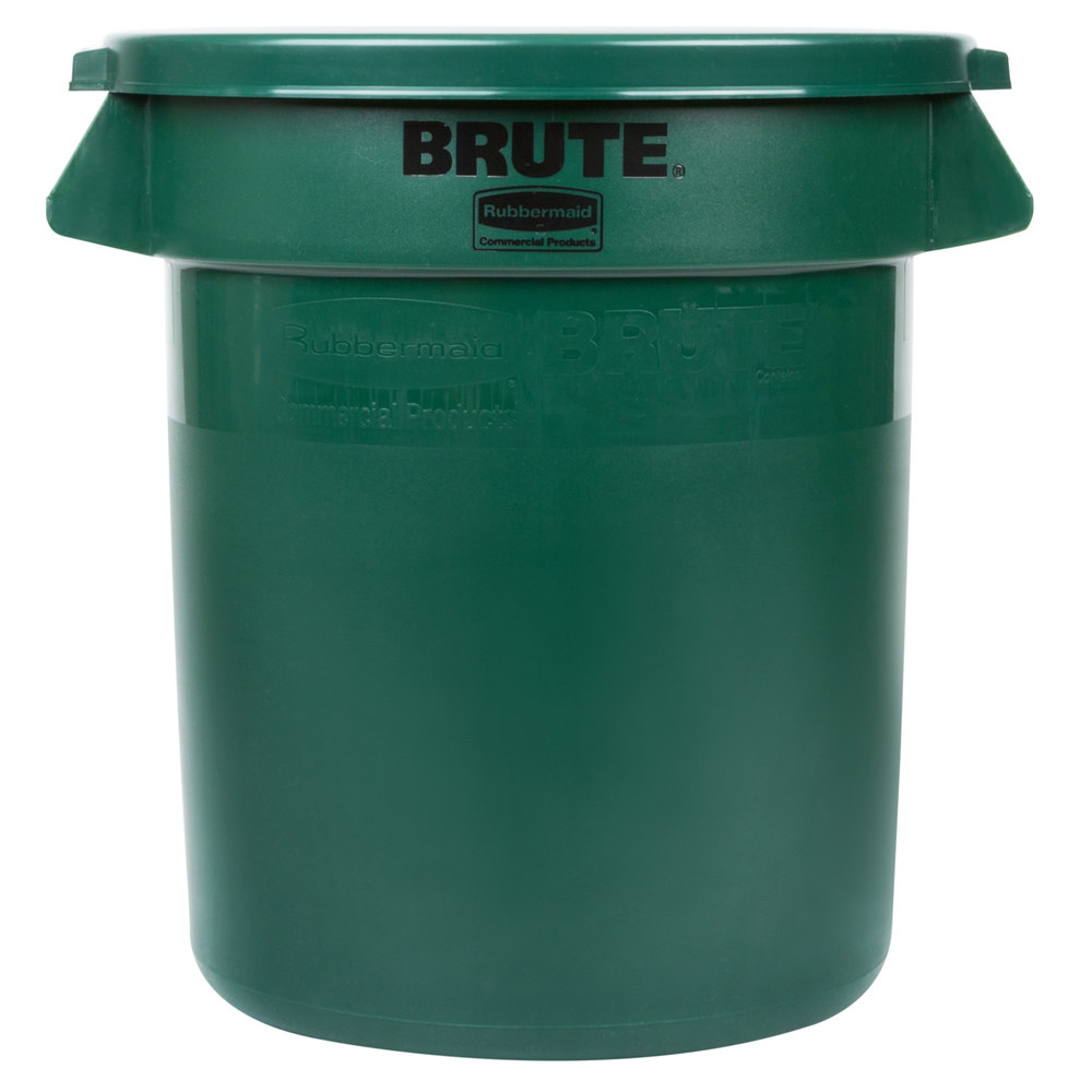 Rubbermaid Brute 10 Gallon Green Trash Can And Lid