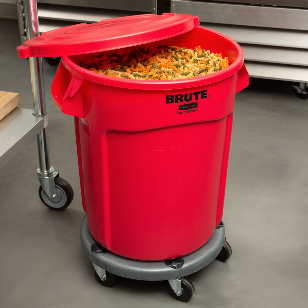 Industrial Garbage Containers : Rubbermaid brute gallon red trash can with lid and dolly
