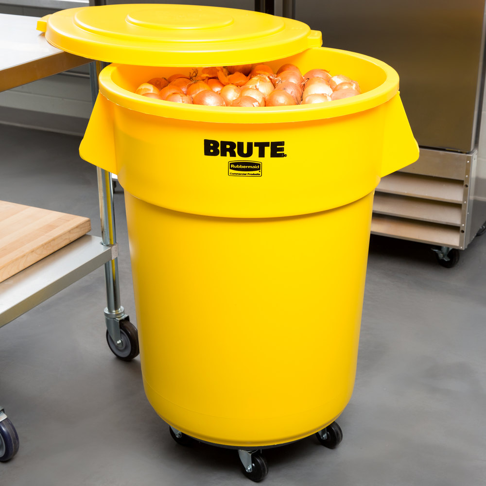 rubbermaid brute 55 gallon yellow trash can with lid and dolly. Black Bedroom Furniture Sets. Home Design Ideas