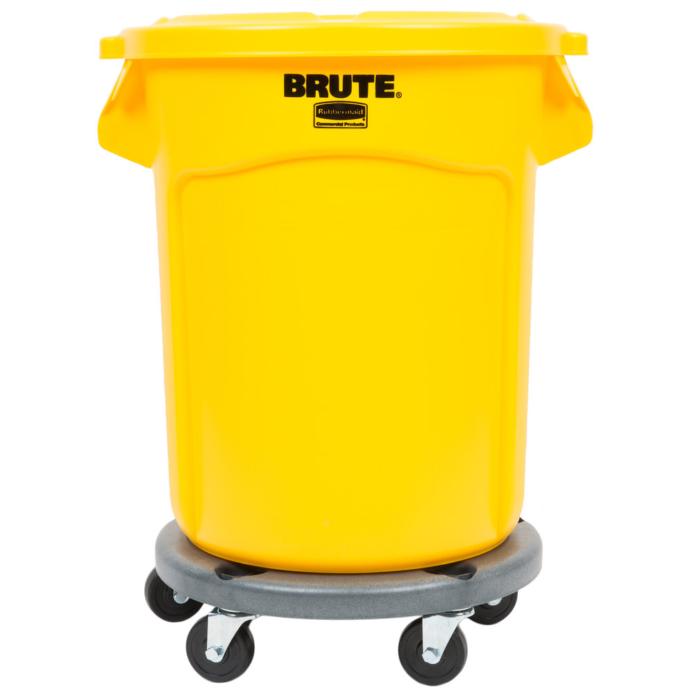 Rubbermaid Brute 20 Gallon Yellow Trash Can With Lid And Dolly