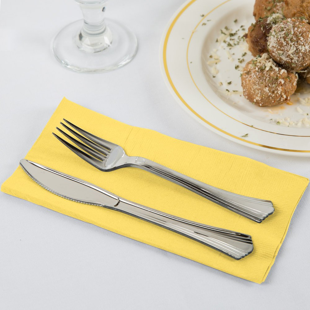 Mimosa Yellow 2-Ply Dinner Napkin, Paper - Creative Converting 67102B - 50/Pack