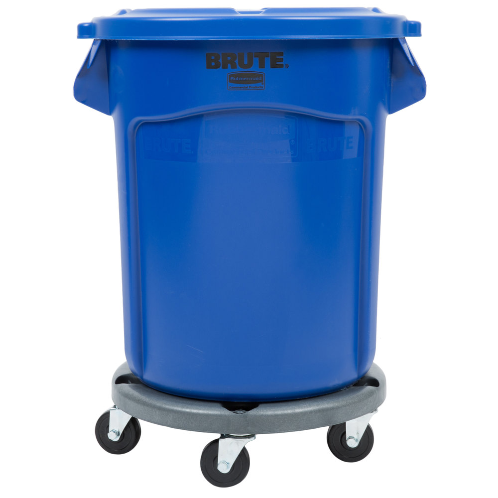 Rubbermaid brute 20 gallon blue trash can with lid and dolly - Cool wastebaskets ...
