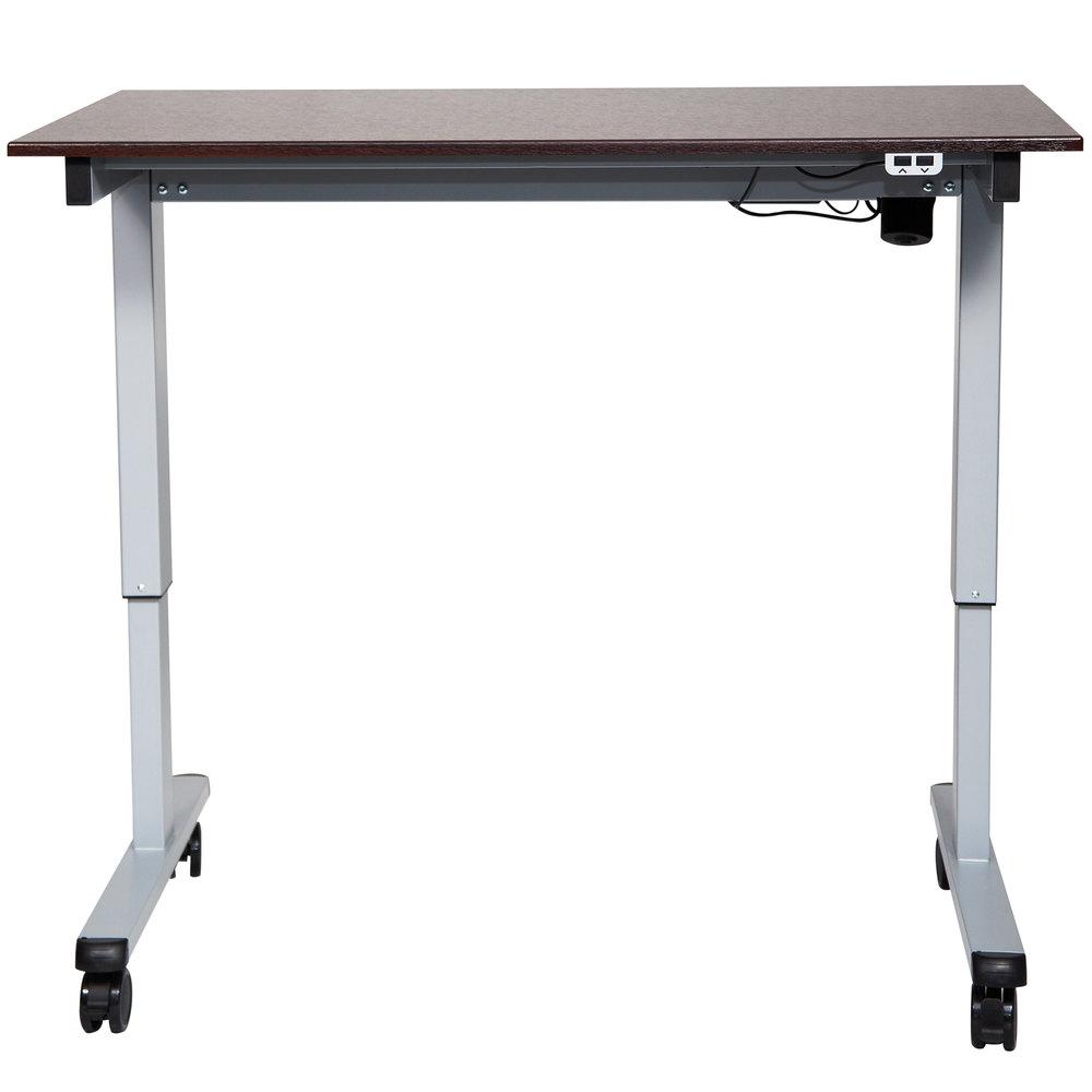 luxor h wilson stande 48 ag dw electric stand up desk with aluminum frame and dark walnut. Black Bedroom Furniture Sets. Home Design Ideas