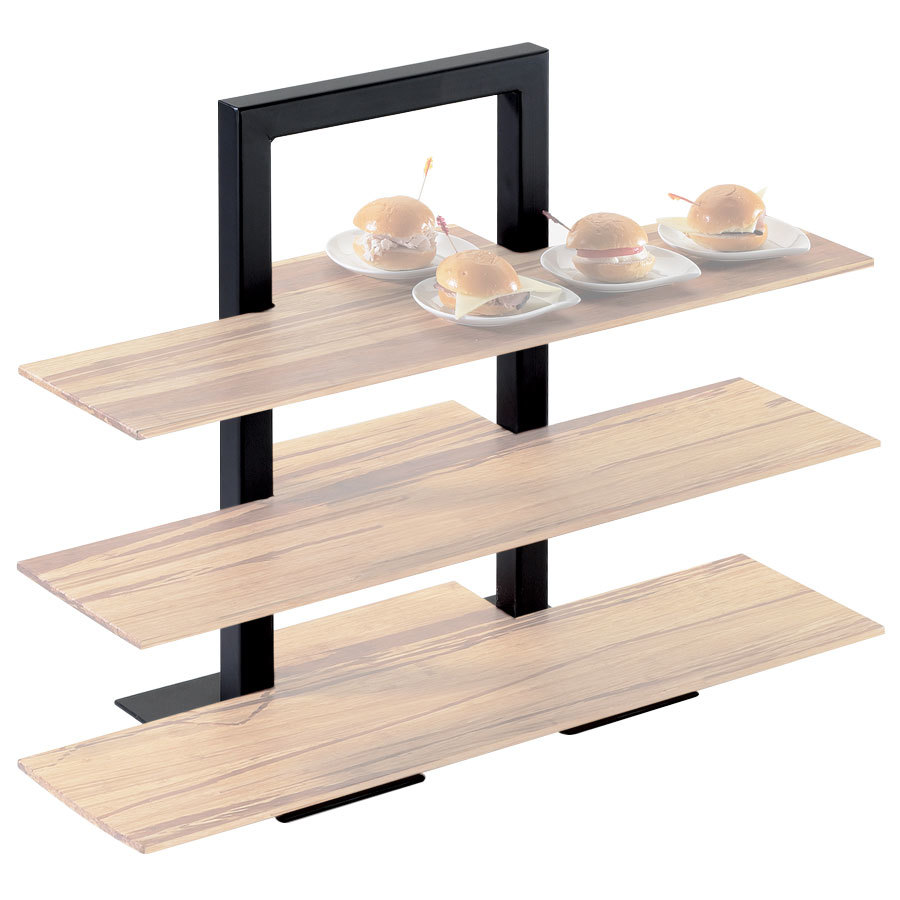 "Cal-Mil 1464-13 Black Three Tier Frame Stand - 18 1/4"" x 11"" x 25"""