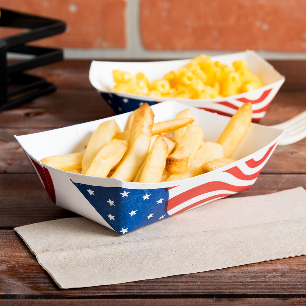 Southern Champion 533 #100 1 Lb. USA Flag Paper Food Tray