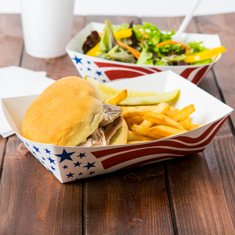 Southern Champion 537 #500 5 Lb. USA Flag Paper Food Tray