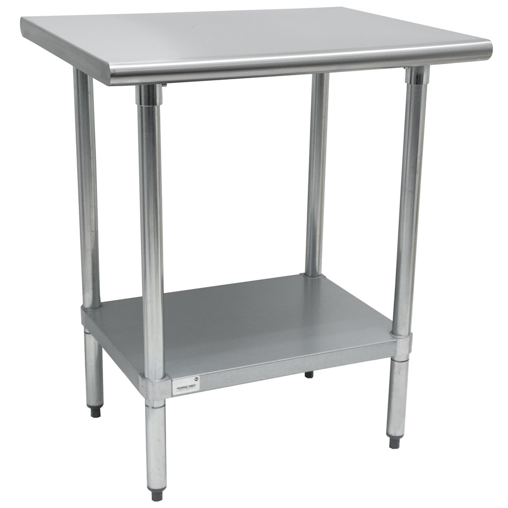 advance tabco ag  x   gauge stainless steel work table  - advance tabco ag  x   gauge stainless steel work table withgalvanized undershelf
