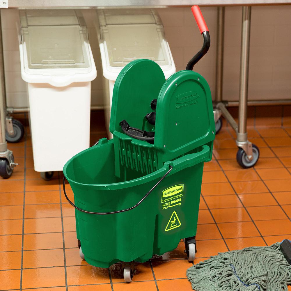 Rubbermaid Fg757888grn Wavebrake 174 35 Qt Green Mop Bucket