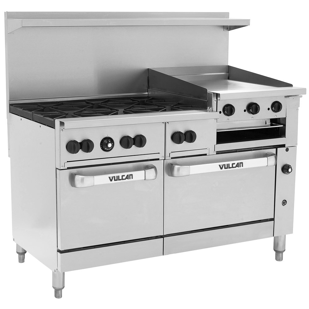 Contemporary range from wolf model 4 burners griddle - Vulcan 60ss 6b24gbp Endurance 6 Burner 60 Inch Liquid Propane Range With Griddle Broiler