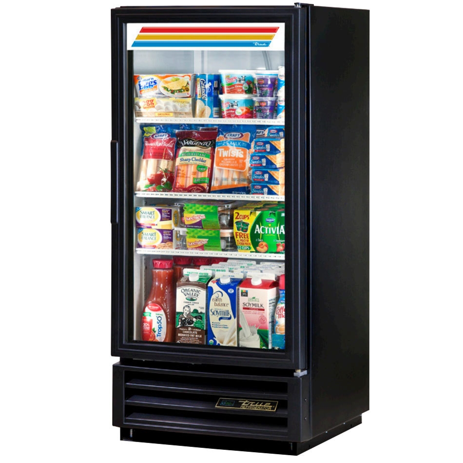 True GDM-10-LD Black Glass Door Refrigerated Merchandiser with LED Lighting - 10 cu. ft.