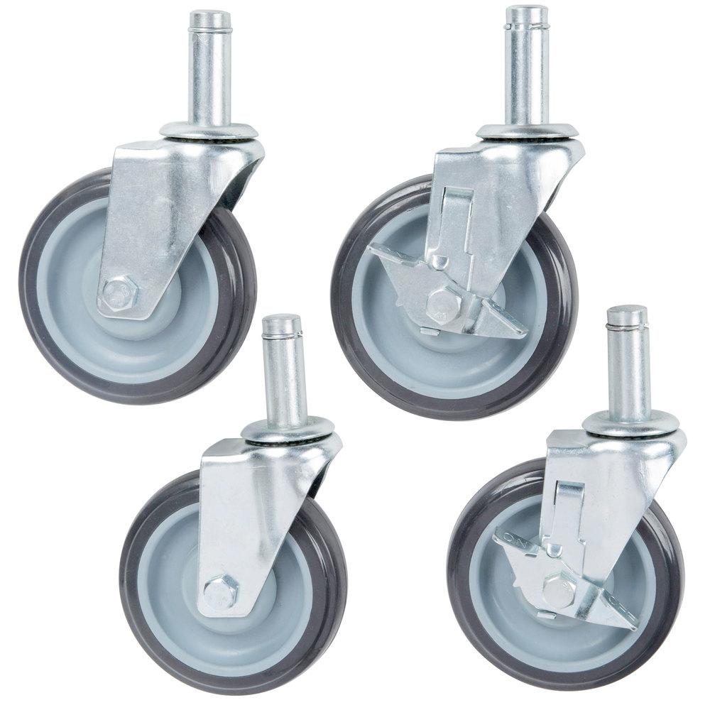 Regency 5 inch Polyurethane Stem Shelving Casters - 4/Set