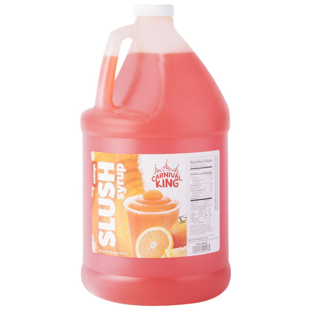 Carnival King 1 Gallon Orange Slushy 5:1 Concentrate - 4/Case