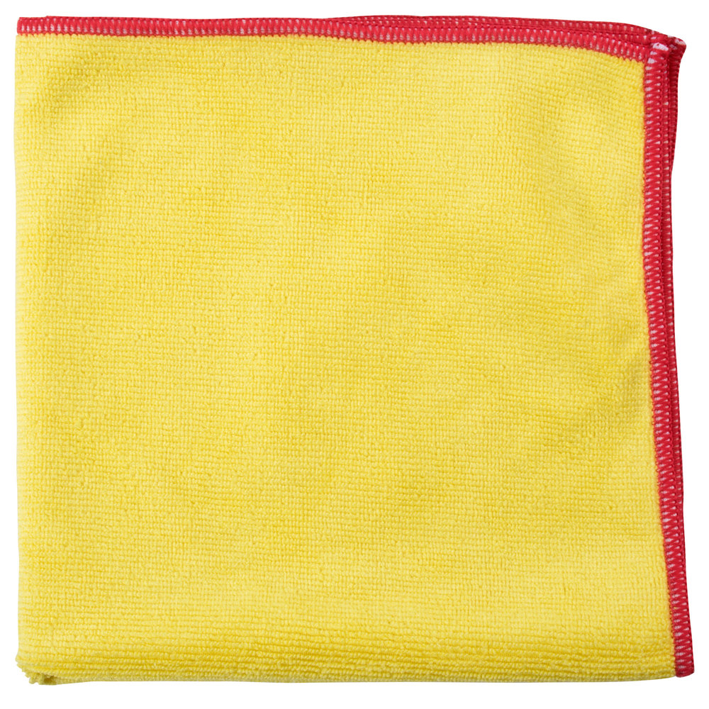 "Unger MF40Y SmartColor MicroWipe 16"" x 15"" Yellow and Red Heavy-Duty Microfiber Cleaning Cloth - 10/Pack"