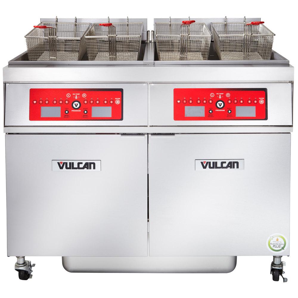 Vulcan 2er50cf 1 100 lb 2 unit electric floor fryer for 100 floor level 34