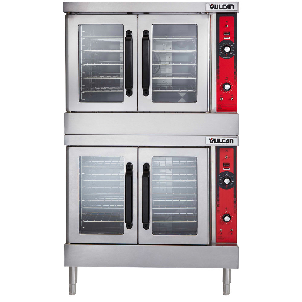 Vulcan VC66GC-NAT Natural Gas Double Deck Full Size Gas Deep Depth  Convection Oven with Computer Controls - 100,000 BTU