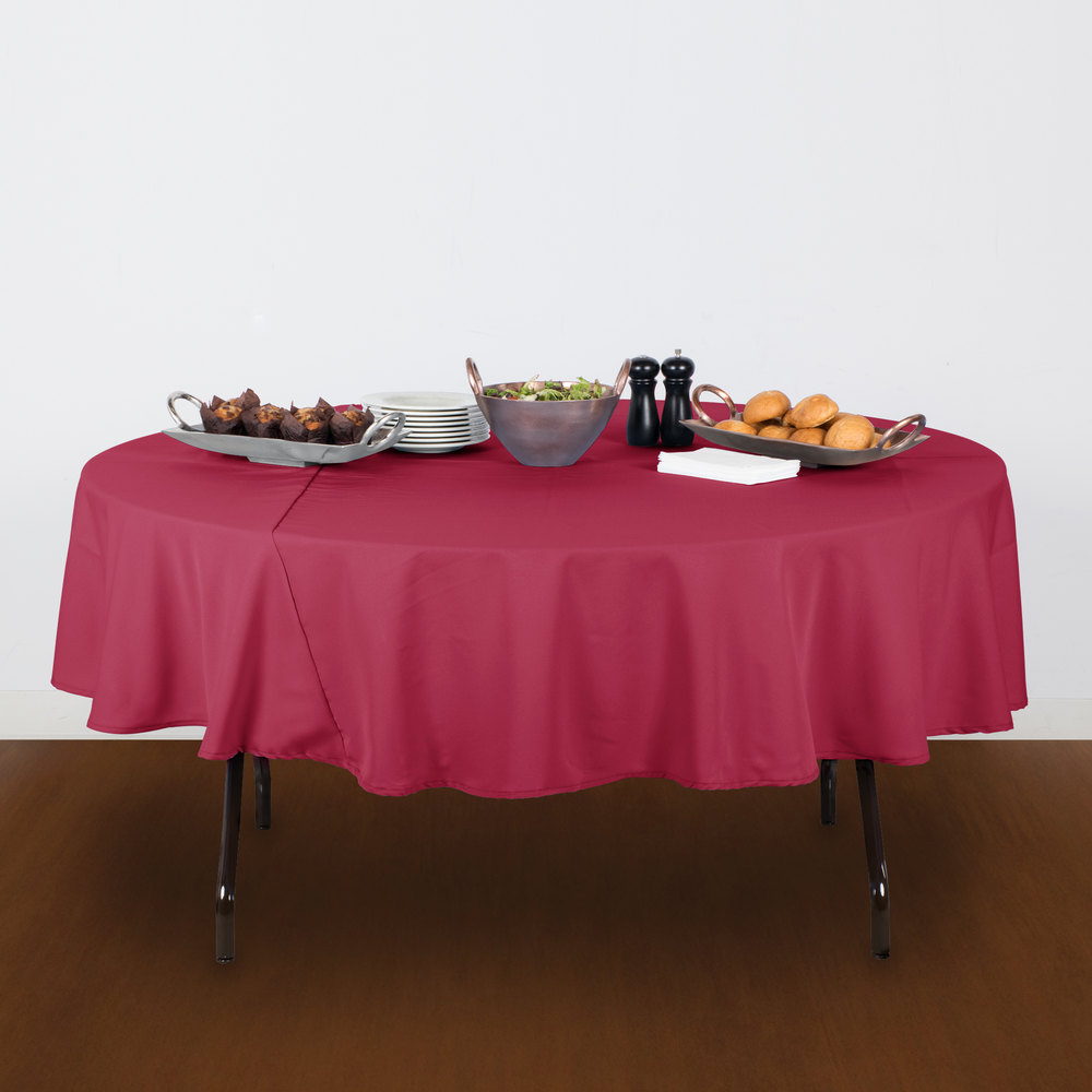 "90"" Round Mauve 100% Polyester Hemmed Cloth Table Cover"