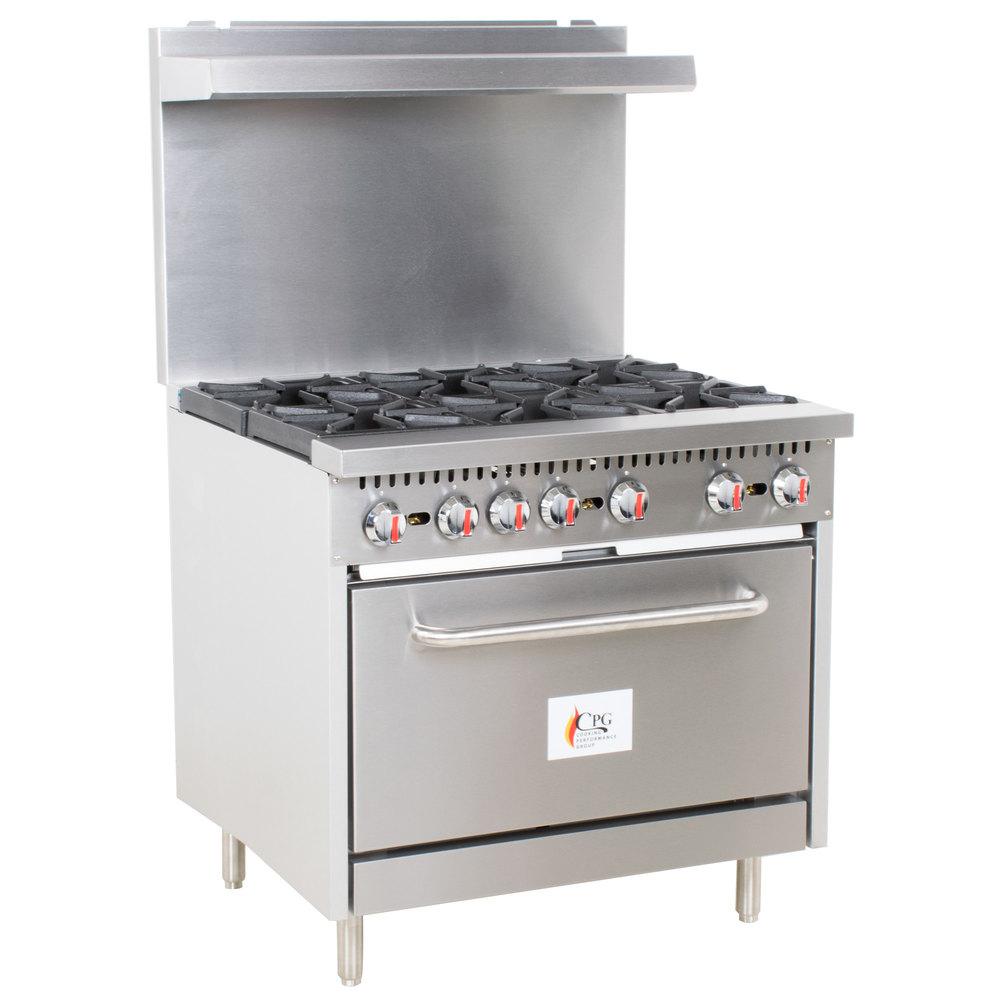 "cooking performance group s36-l liquid propane 6 burner 36"" range"