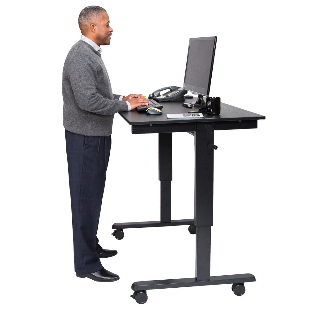 luxor standcf48 bkbo stand up desk with black steel frame and black oak desktop 48