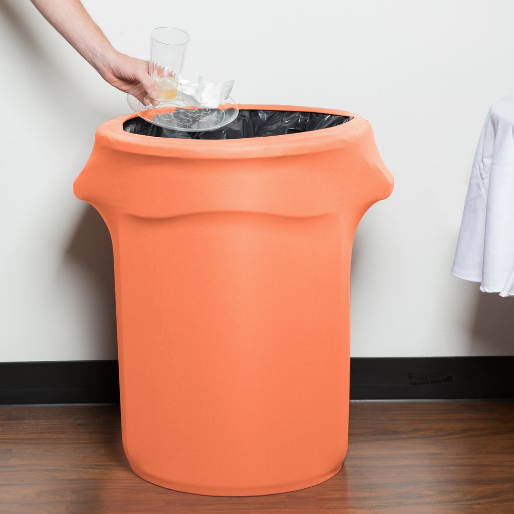 Marko emb5026wc35030 embrace 32 gallon peach spandex round waste container cover - Covered wastebasket ...