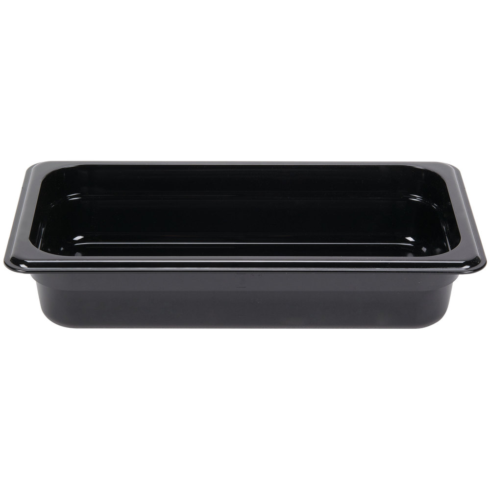 "Carlisle 3066003 StorPlus 1/3 Size Black Food Pan - 2 1/2"" Deep"