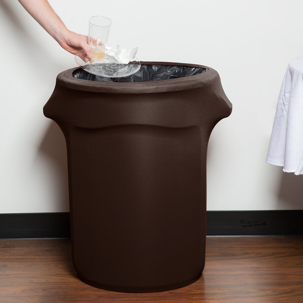 Marko emb5026wc35515 embrace 32 gallon chocolate spandex round waste container cover - Covered wastebasket ...
