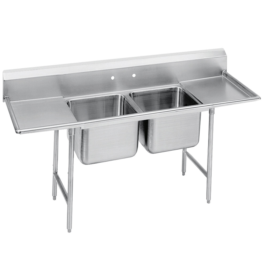 Advance Tabco 93-82-40-18RL Regaline Two Compartment Stainless Steel Sink with Two Drainboards - 81""