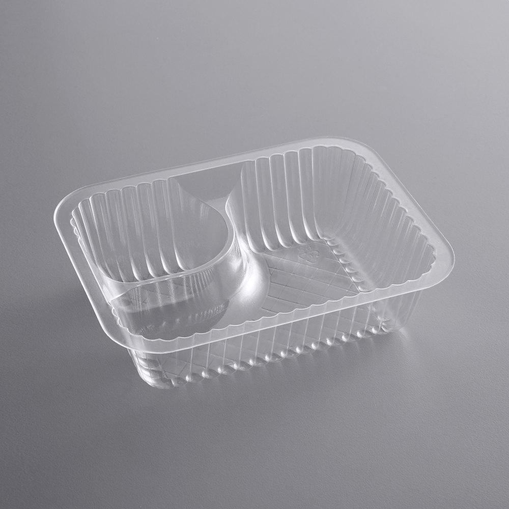 Carnival King Small Clear 2 Compartment Plastic Nacho Tray - 500/Case