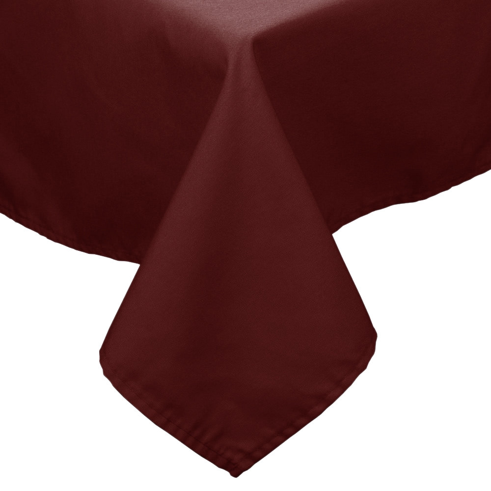 "90"" x 90"" Burgundy 100% Polyester Hemmed Cloth Table Cover"