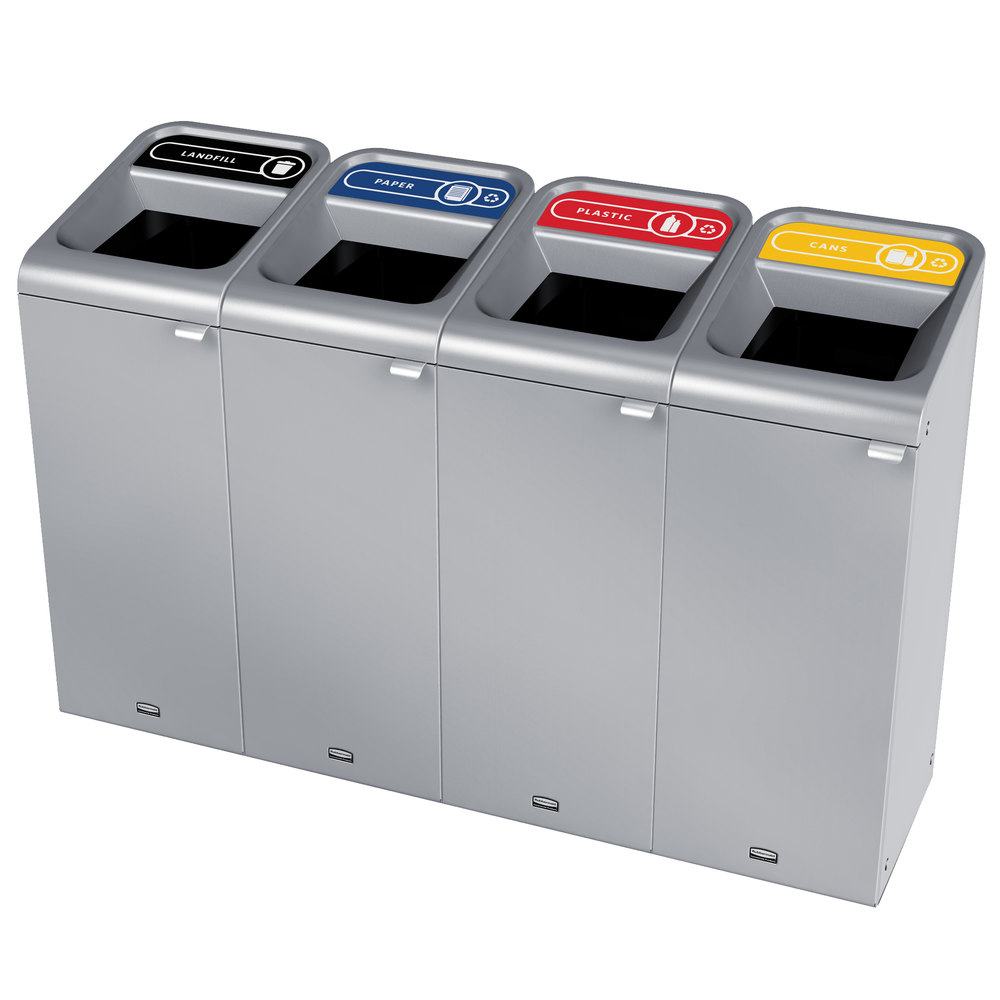 Rubbermaid 1961790 Configure 60 Gallon Stainless Steel 4 Stream Landfill, Paper, Plastic, and Cans Indoor Waste / Recycling Station