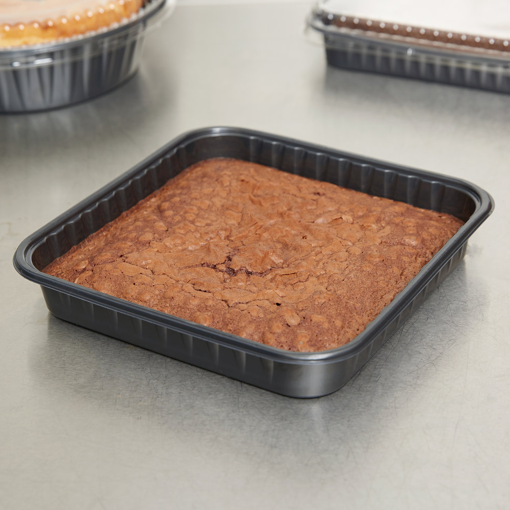 "Genpak 55388 Bake 'N Show Dual Ovenable 8"" x 8"" x 1 1/4"" Square Brownie / Cake Pan - 250/Case"