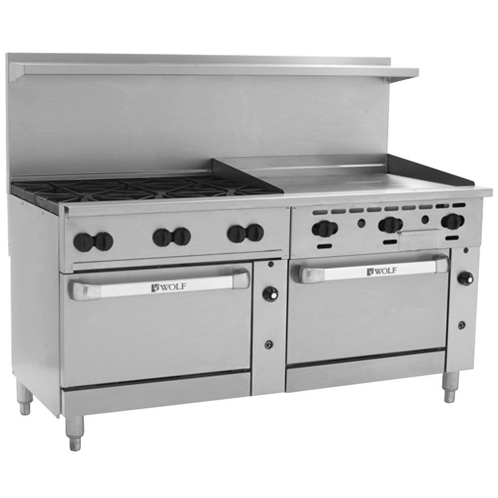 "Wolf C72SS-6B36GTN Challenger XL Series Natural Gas 72"" Thermostatic Range with 6 Burners, 36"" Right Side Griddle, and 2 Standard Ovens - 310,000 BTU"