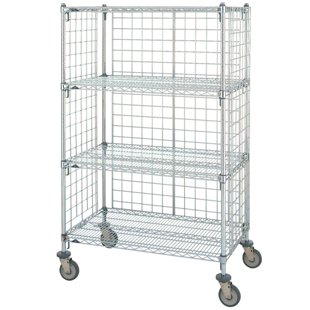 "Metro Super Erecta AST35MC Chrome Wire Slanted Shelf Truck 24"" x 36"" x 62"""