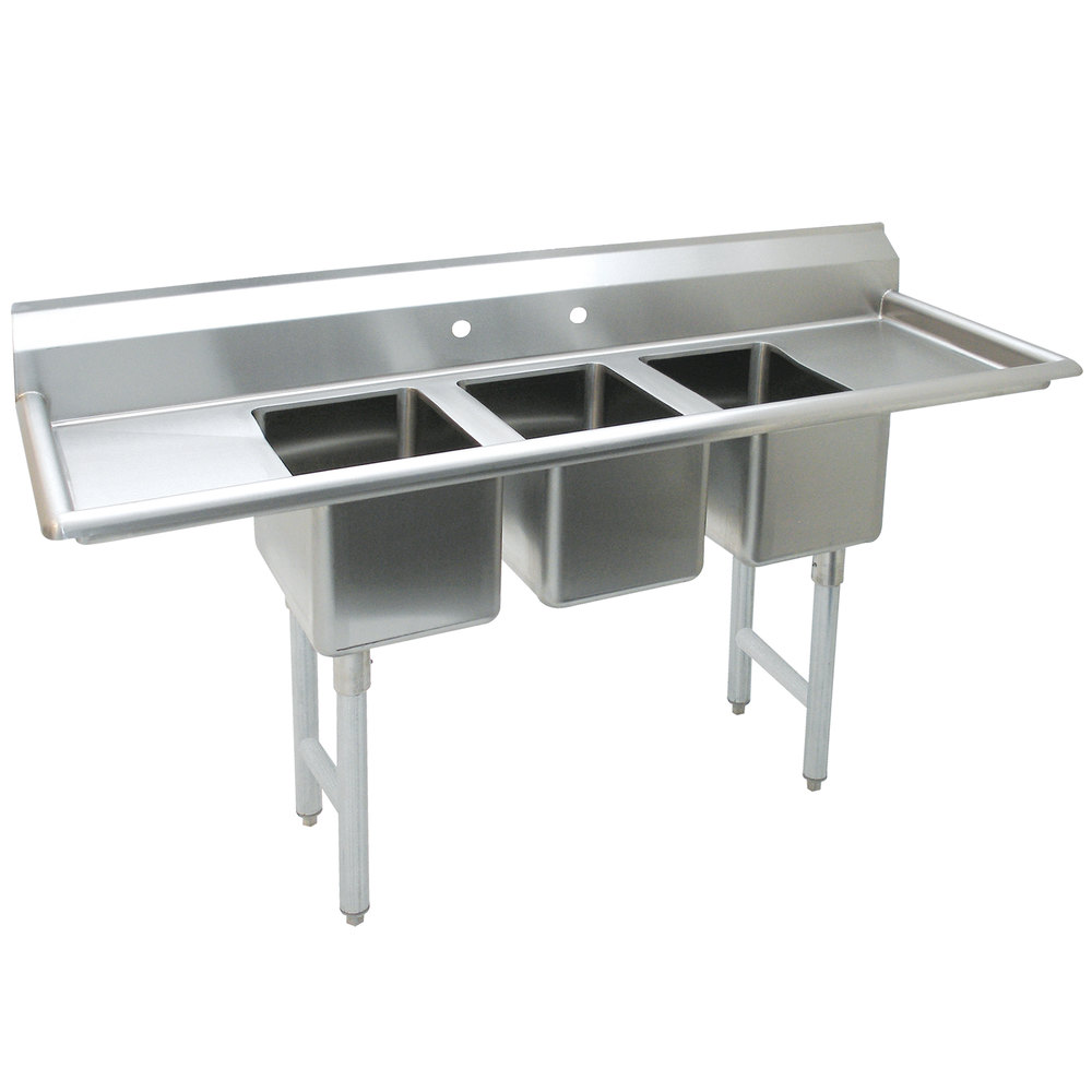 advance tabco k7 cs 21 58 three compartment convenience store sink with two drainboards - Three Compartment Kitchen Sink
