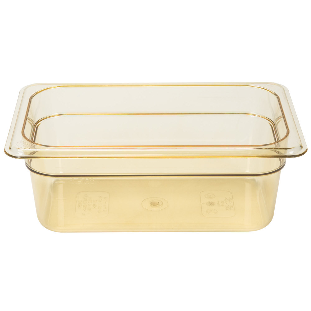 "Cambro 44HP150 H-Pan 1/4 Size Amber High Heat Food Pan - 4"" Deep"