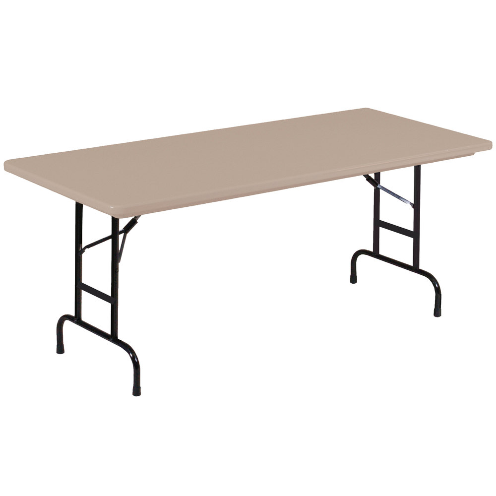 "Correll Heavy Duty Folding Table, 30"" x 96"" Adjustable Height Blow-Molded Plastic, Mocha Granite - R-Series RA309624"