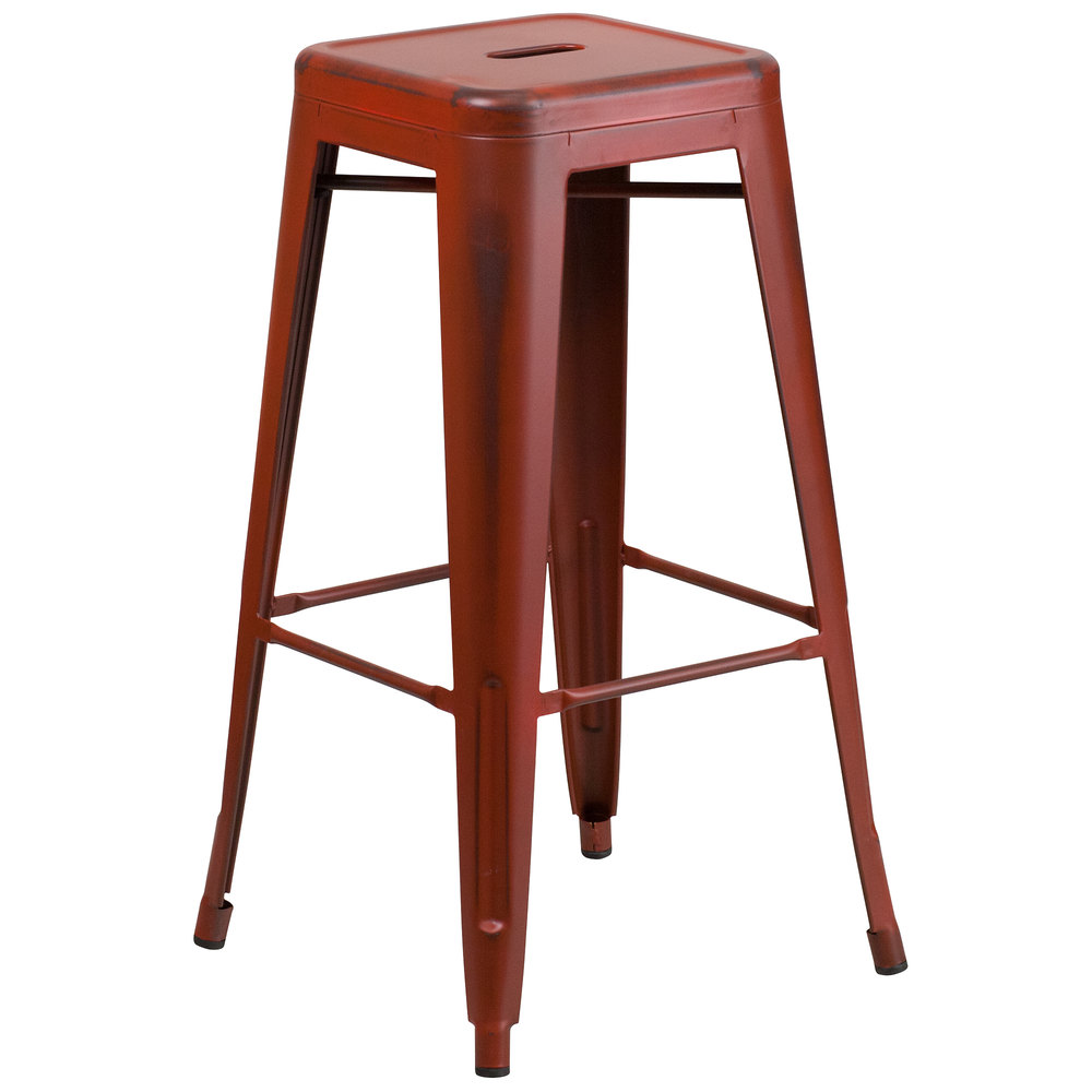 Distressed Kelly Red Stackable Metal Bar Height Stool With