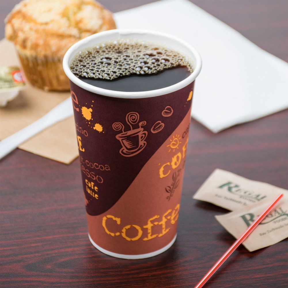 Choice 16 oz. Coffee Print Poly Paper Hot Cup - 1000/Case