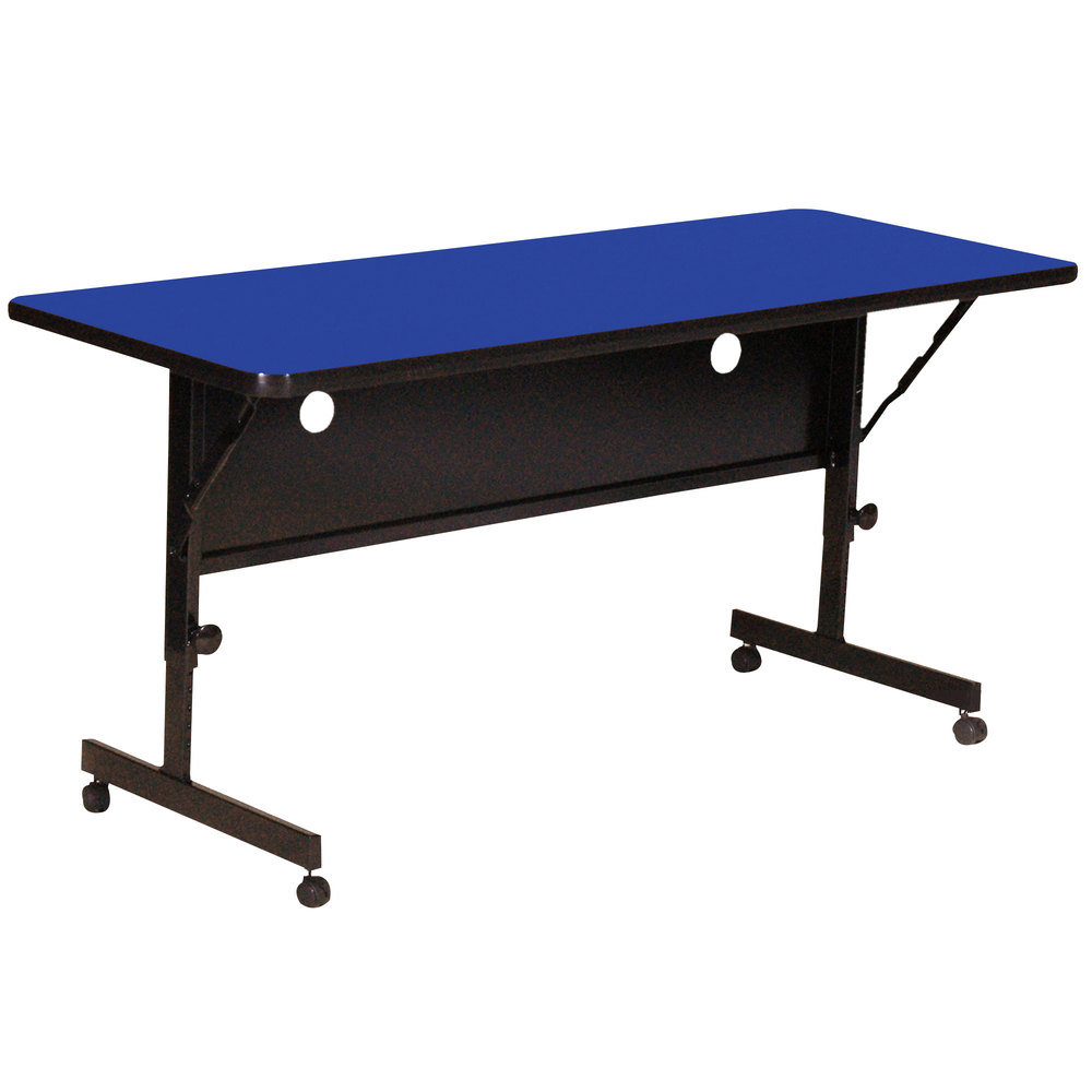 "Correll Deluxe Flip Top Table, High Pressure Adjustable Height, 24"" x 48"", Blue- FT2448-37"