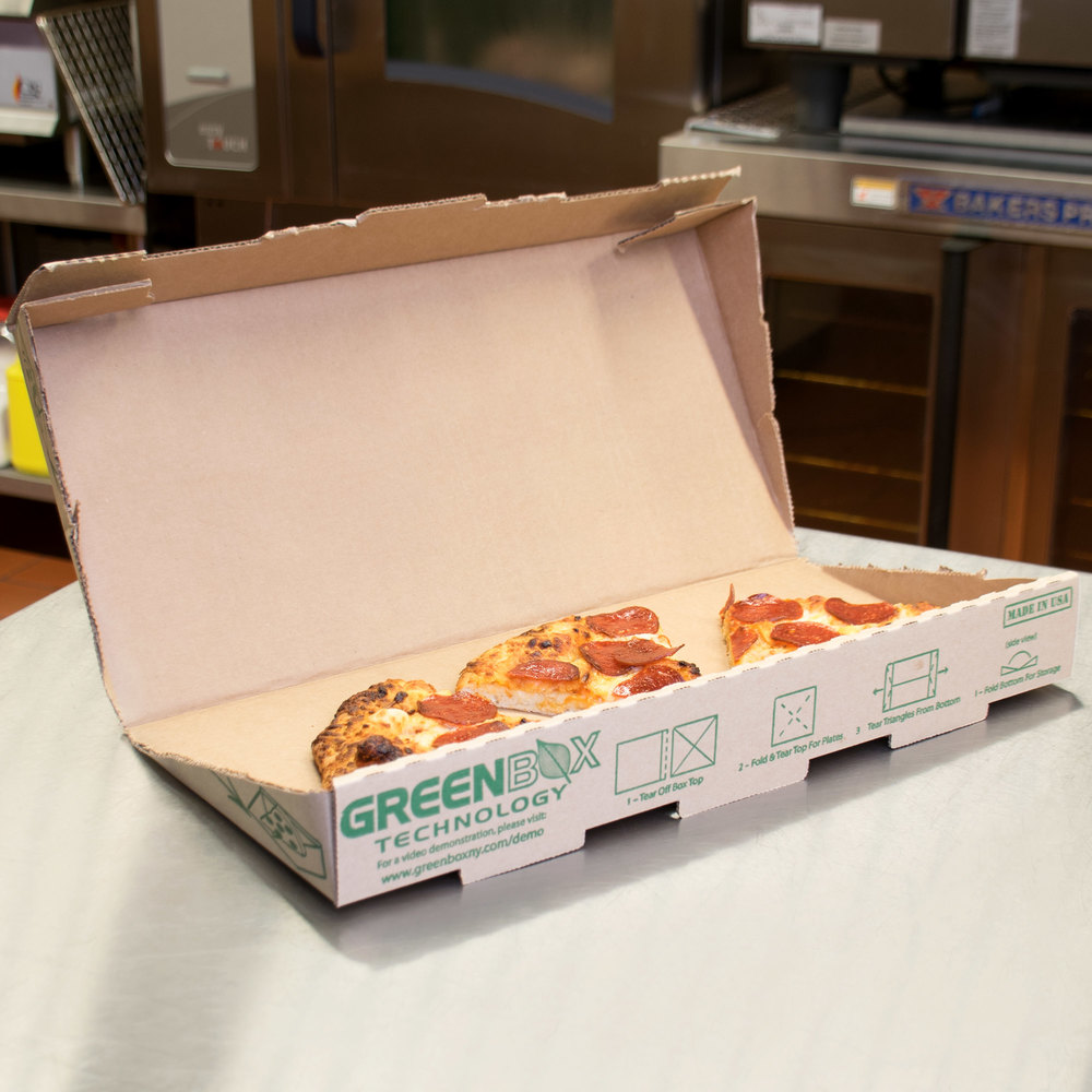 "GreenBox 16"" x 16"" x 2"" Corrugated Pizza Box with Built-In Plates and Storage Container - 50/Case"