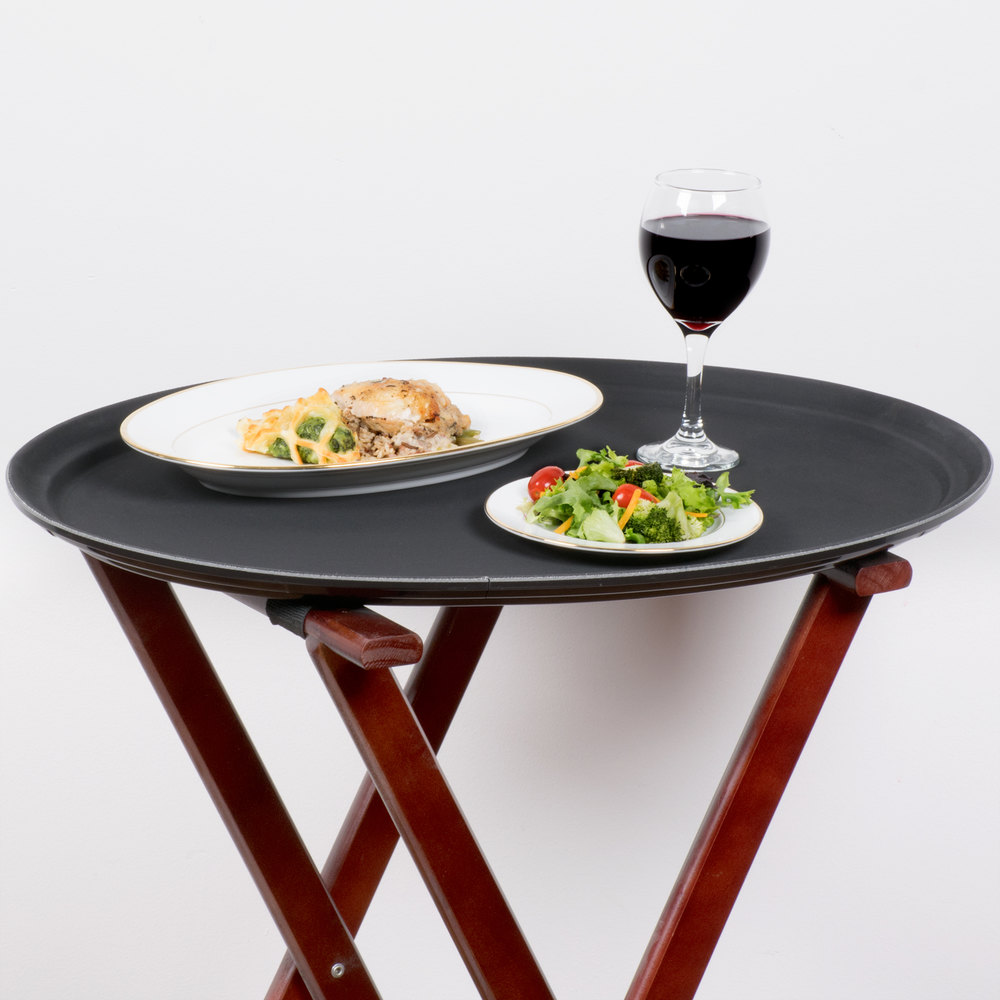 "Oval 27"" Black Non-Skid Serving Tray"