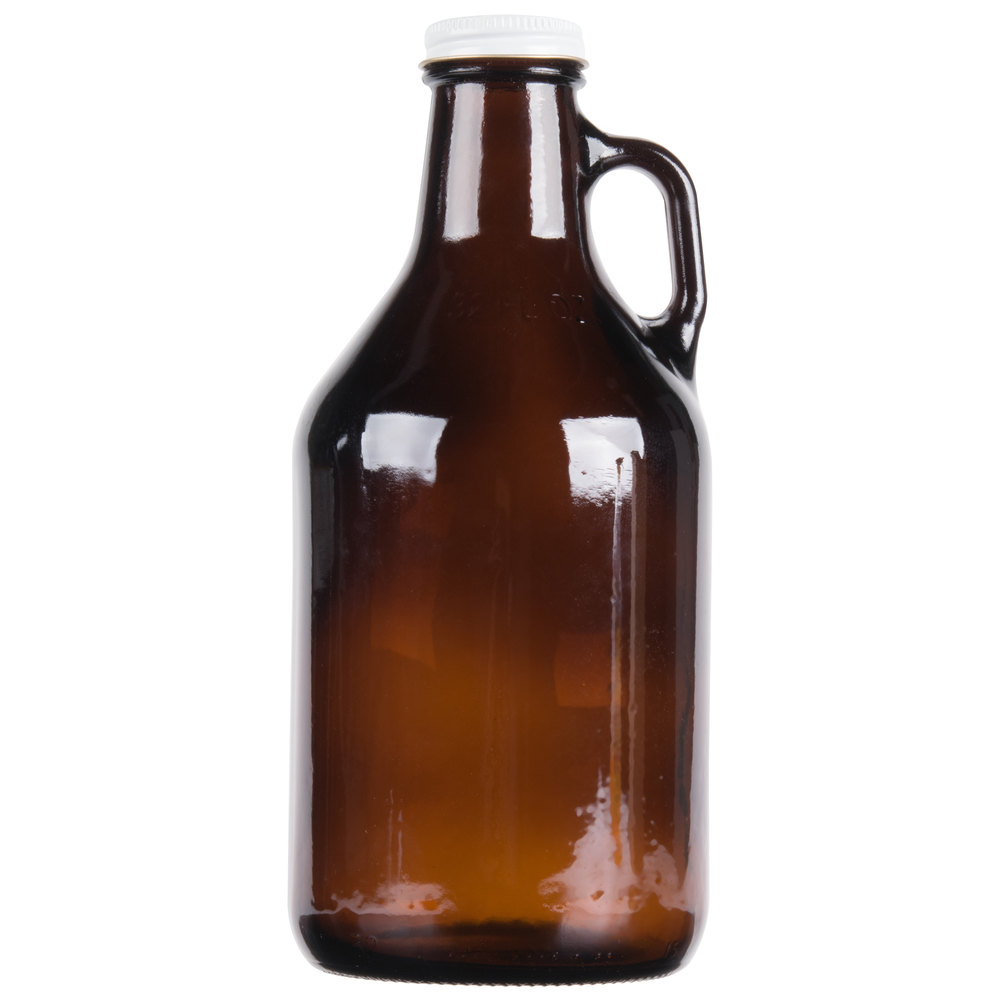 Libbey 70216 32 Oz Amber Growler With Lid