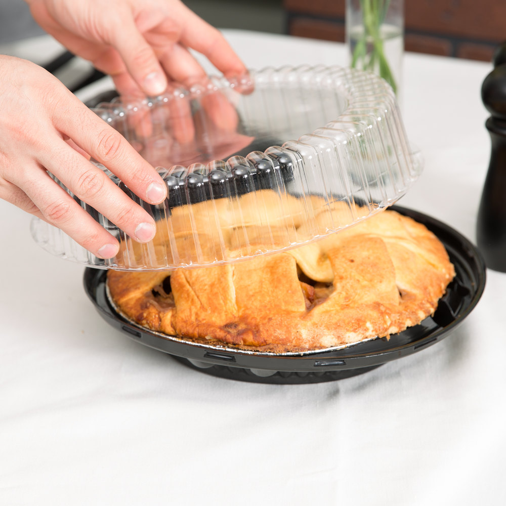 "D&W Fine Pack J45-1 10"" Black Pie Take Out Container with Clear High Dome Lid - 160/Case"