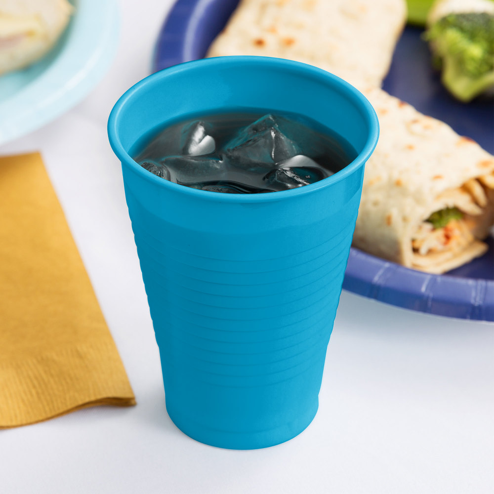 Creative Converting 28313171 12 oz. Turquoise Plastic Cup - 240/Case