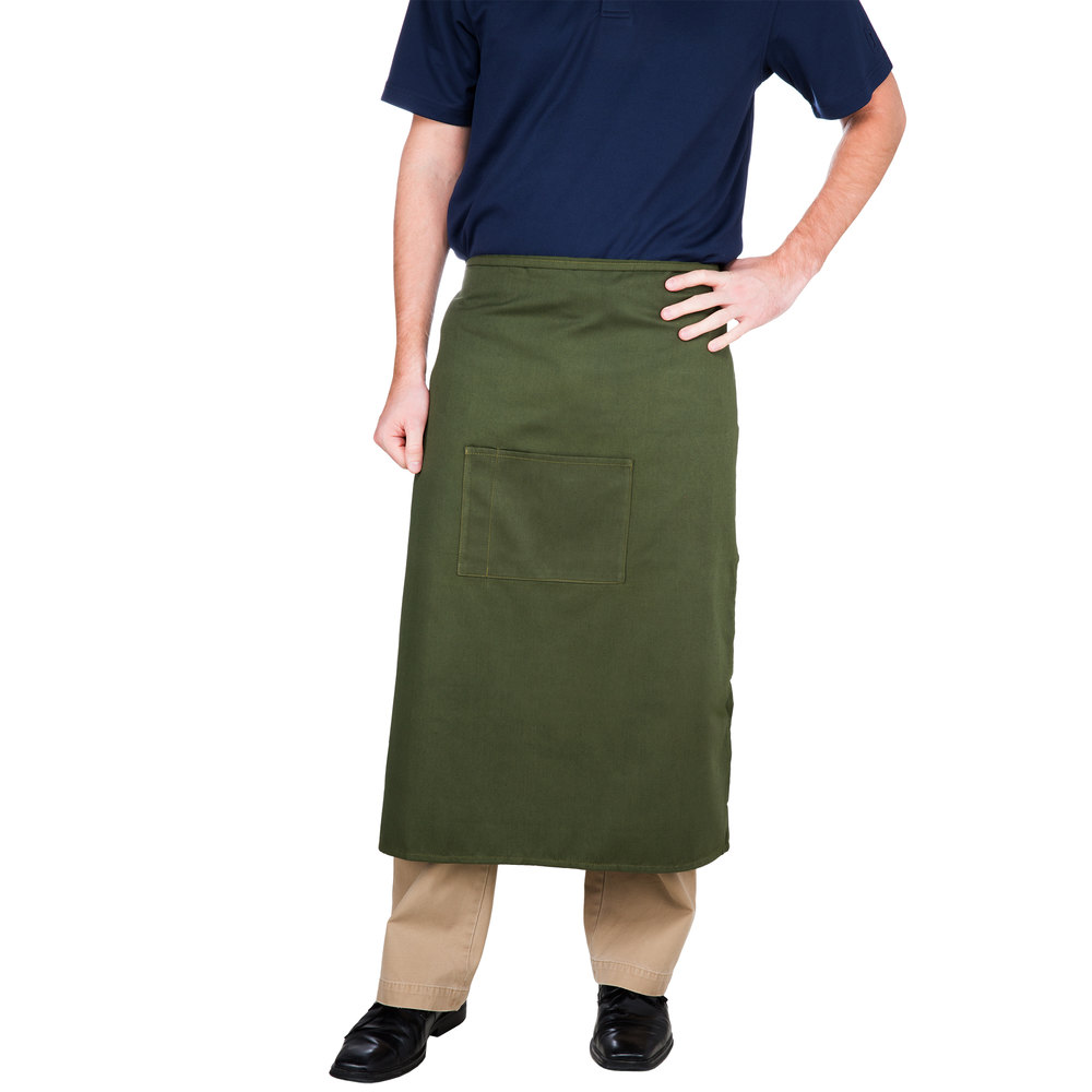 "Choice Hunter Green Bistro Apron with Pocket - 34""L x 28""W"